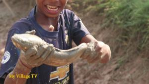 Hand Fish Catching ! Two Village Boys Catching big fish & Catfish by Hand